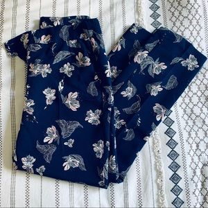 Navy blue floral ankle pants